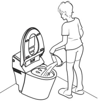 災害時のトイレの流し方。
